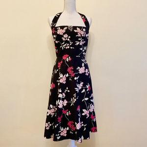 Donna Ricco Size 10 black/pink flower summer dress